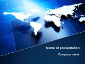 Global: Deep Blue World Map PowerPoint Template #09046