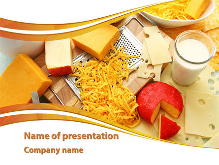 Food & Beverage: Hard Cheese And Milk PowerPoint Template #09051