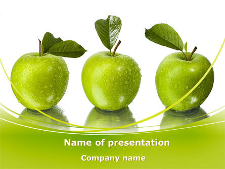 Green Apples PowerPoint Template, 09060, Agriculture — PoweredTemplate.com