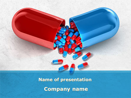 Medical: Red And Blue Pilule PowerPoint Template #09066