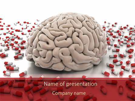 Medical: Human Brain Medicine PowerPoint Template #09077