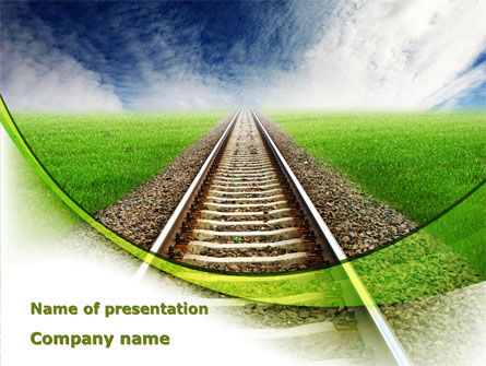 Railway Stretching Into The Blue Distance PowerPoint Template
