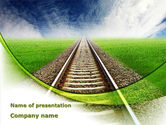 Cars and Transportation: Railway Stretching Into The Blue Distance PowerPoint Template #09084