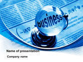 Business: Crystal Globe on the Newspaper PowerPoint Template #09088