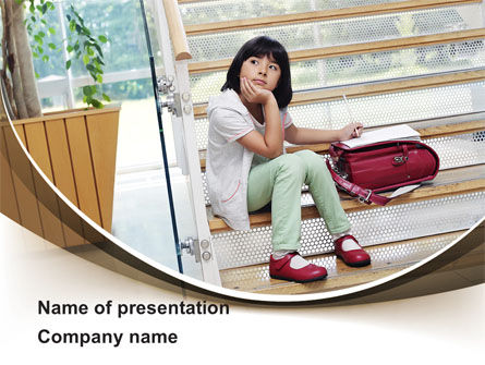 Schoolgirl PowerPoint Template, 09091, Education & Training — PoweredTemplate.com