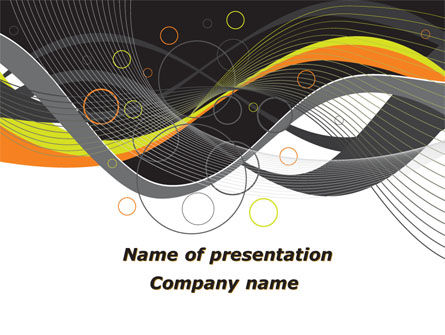 Gray Yellow Wave PowerPoint Template, 09110, Abstract/Textures — PoweredTemplate.com