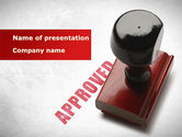 Business Concepts: Approved Stamp PowerPoint Template #09111