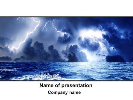 Navy Blue Sea PowerPoint Template, 09113, Nature & Environment — PoweredTemplate.com