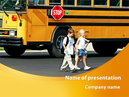 School Bus And Children PowerPoint Template, 09131, Education & Training — PoweredTemplate.com