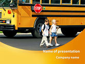 School Bus And Children PowerPoint Template#1