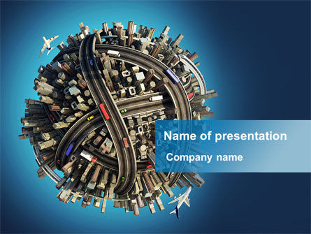 Cars and Transportation: World Highway Junction PowerPoint Template #09132