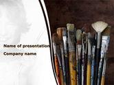 Art & Entertainment: Modelo do PowerPoint - escovas de pintura #09137