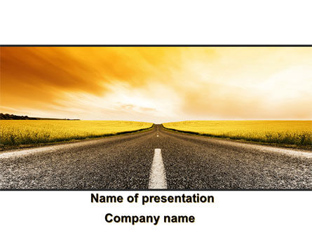 Cars and Transportation: Road Into the Sunset PowerPoint Template #09151