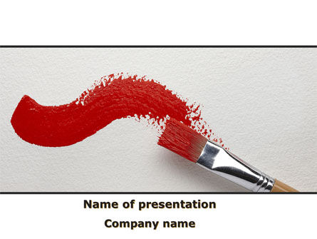 Art & Entertainment: Red Paint Brush PowerPoint Template #09153