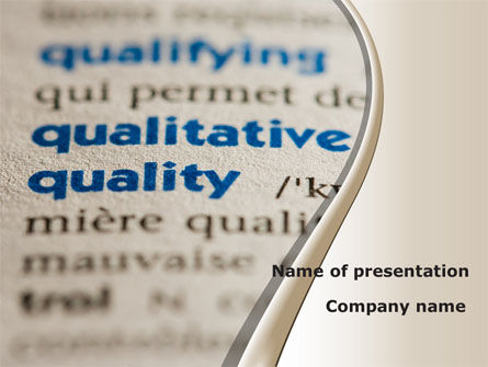 Meaning of Quality PowerPoint Template, 09160, Consulting — PoweredTemplate.com