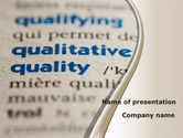 Consulting: Meaning of Quality PowerPoint Template #09160