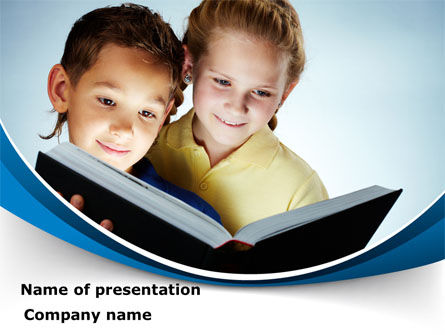 Reading Book in Early Childhood PowerPoint Template, 09173, People — PoweredTemplate.com