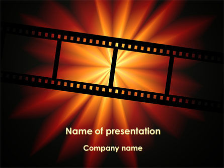 Art & Entertainment: Film Strip In Dark Red-Yellow Colors PowerPoint Template #09227