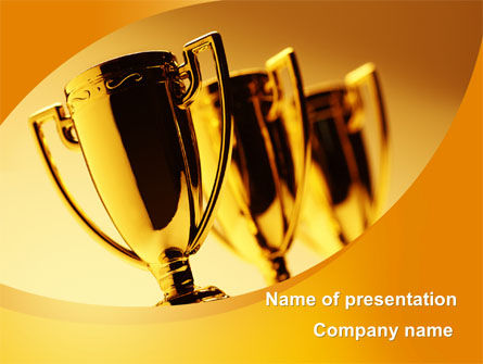 Sports: Winner Goblets PowerPoint Template #09229