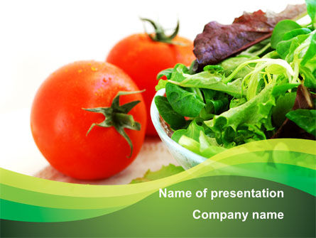 Salad with Tomatoes PowerPoint Template, 09230, Food & Beverage — PoweredTemplate.com
