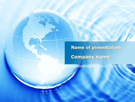 Globe in Blue Colors PowerPoint Template, 09236, Global — PoweredTemplate.com