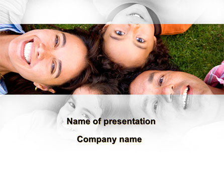 Happy Family On The Green Field PowerPoint Template, 09239, People — PoweredTemplate.com