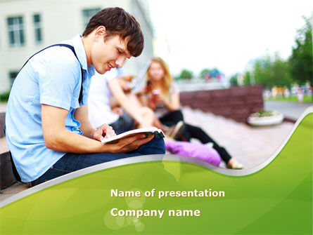 Student Reading a Book PowerPoint Template, 09242, People — PoweredTemplate.com