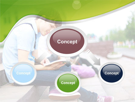 Student Reading a Book PowerPoint Template, Slide 4, 09242, People — PoweredTemplate.com