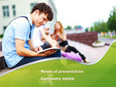 People: Student Reading a Book PowerPoint Template #09242