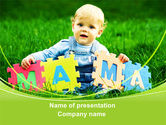 People: Baby with Mama Puzzle PowerPoint Template #09253