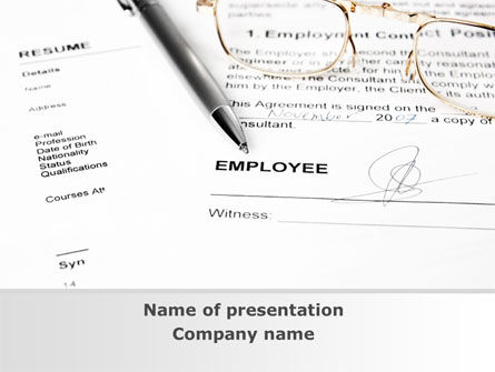 Consulting: Employment Contract PowerPoint Template #09256