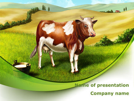 Agriculture: Cow On The Nature PowerPoint Template #09266