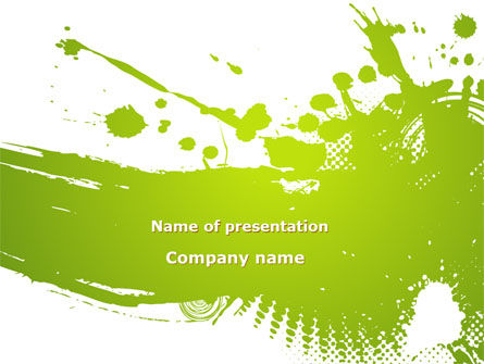 Abstract/Textures: Green Splash PowerPoint Template #09278