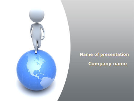 Globe Under His Feet PowerPoint Template