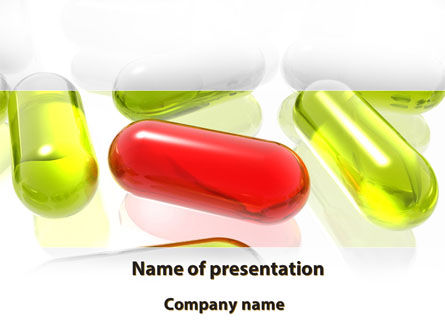 Medical: Red Pill Among Green Pills PowerPoint Template #09304