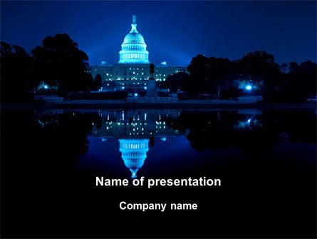 United States Capitol PowerPoint Template, 09310, Flags/International — PoweredTemplate.com
