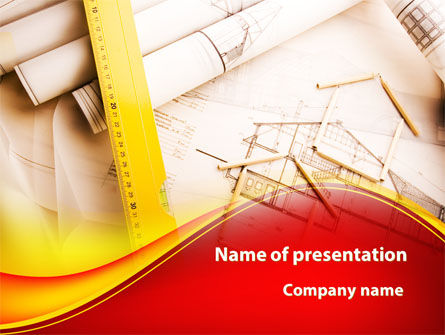 Cottage Draft PowerPoint Template, 09318, Construction — PoweredTemplate.com