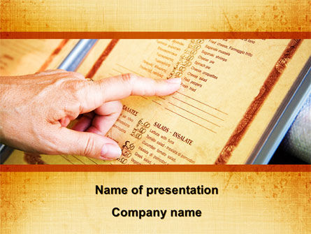 Menu Of Restaurant PowerPoint Template