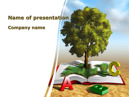 Education & Training: Green Tree of Knowledge PowerPoint Template #09343
