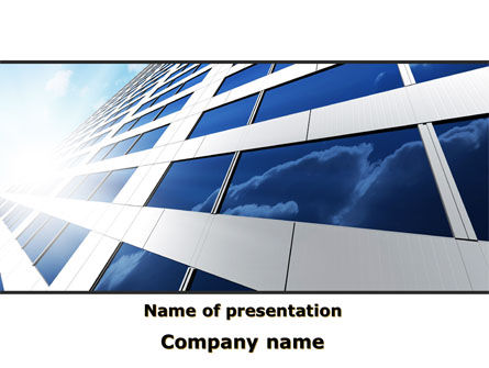 Blue Skyscraper PowerPoint Template, 09351, Construction — PoweredTemplate.com
