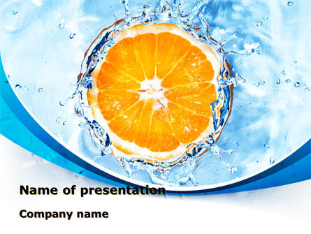 Orange In Pure Water PowerPoint Template, 09359, Food & Beverage — PoweredTemplate.com