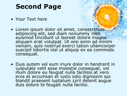 Orange In Pure Water PowerPoint Template, Slide 2, 09359, Food & Beverage — PoweredTemplate.com