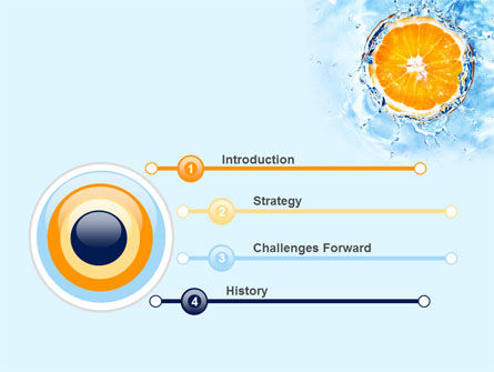 Orange In Pure Water PowerPoint Template, Slide 3, 09359, Food & Beverage — PoweredTemplate.com