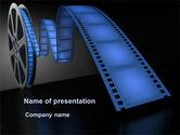 Art & Entertainment: Film Reel In Dark Blue Color PowerPoint Template #09362