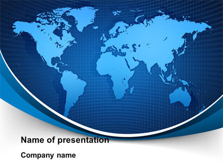 Global Map In Blue PowerPoint Template, 09373, Global — PoweredTemplate.com