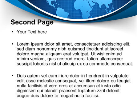 Global Map In Blue PowerPoint Template, Slide 2, 09373, Global — PoweredTemplate.com