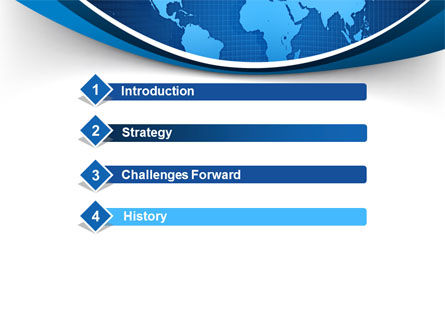 Global Map In Blue PowerPoint Template, Slide 3, 09373, Global — PoweredTemplate.com