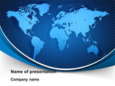 Global: Global Map In Blue PowerPoint Template #09373