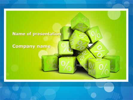 Green Percent Cubes PowerPoint Template, 09375, Consulting — PoweredTemplate.com
