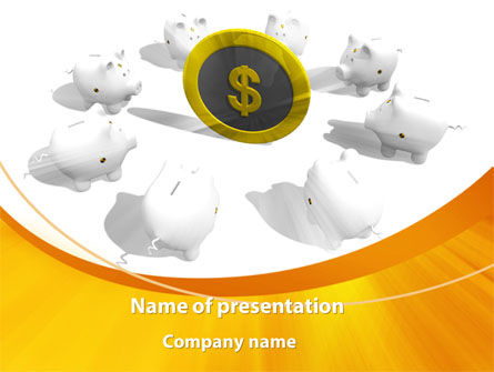 Consulting: Piggy Bank Greedy PowerPoint Template #09376